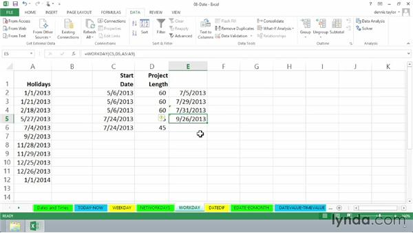 Determining a completion date with WORKDAY: Excel 2013: Advanced Formulas and Functions