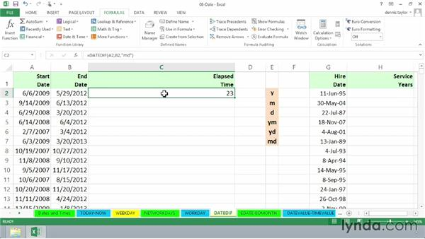 Tabulating date differences with DATEDIF: Excel 2013: Advanced Formulas and Functions
