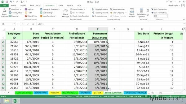 Calculating end-of-month and future/past dates with EDATE and EOMONTH: Excel 2013: Advanced Formulas and Functions