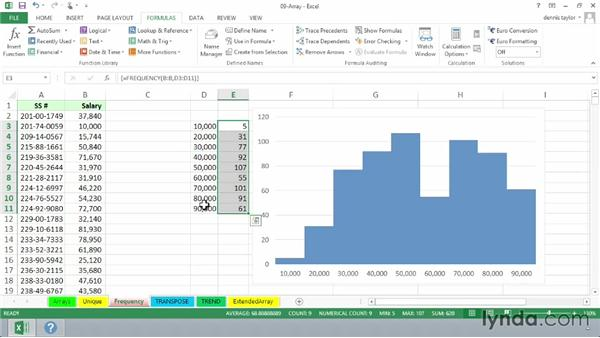 Determining frequency distributions with FREQUENCY: Excel 2013: Advanced Formulas and Functions