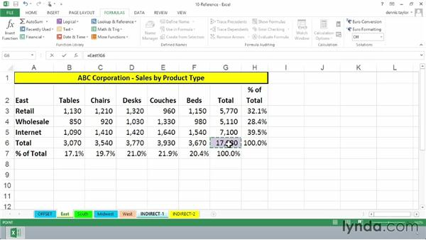 Returning references with INDIRECT: Excel 2013: Advanced Formulas and Functions