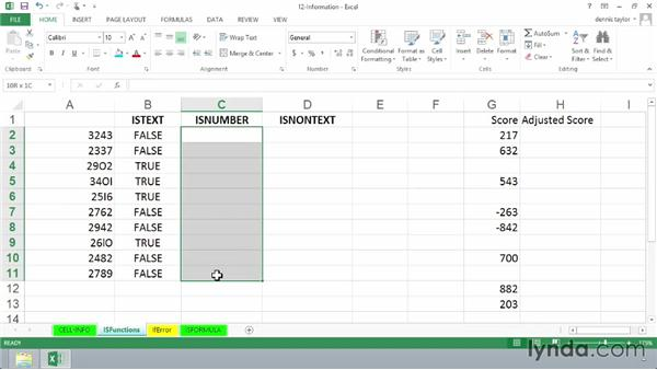 Using ISBLANK, ISODD, ISEVEN, ISTEXT, and ISNUMBER: Excel 2013: Advanced Formulas and Functions