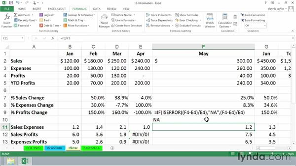 Using error-checking functions ISERR, ISERROR, IFERROR, ISNA, and IFNA: Excel 2013: Advanced Formulas and Functions