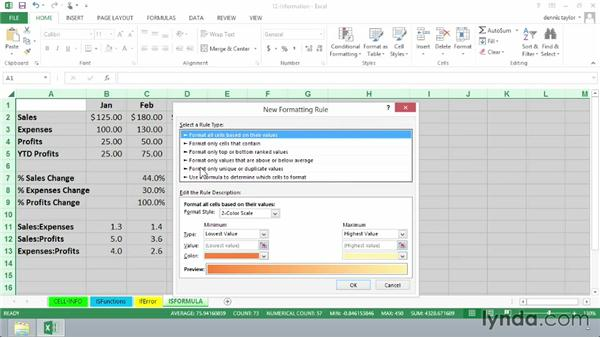 Using the ISFORMULA function with conditional formatting: Excel 2013: Advanced Formulas and Functions