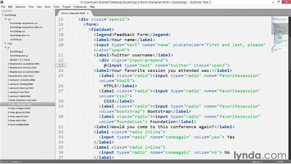 Adding characters to form fields: Bootstrap 2: Adding Interactivity to Your Site