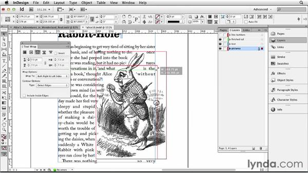 Applying and finessing text wraps: Designing a Book