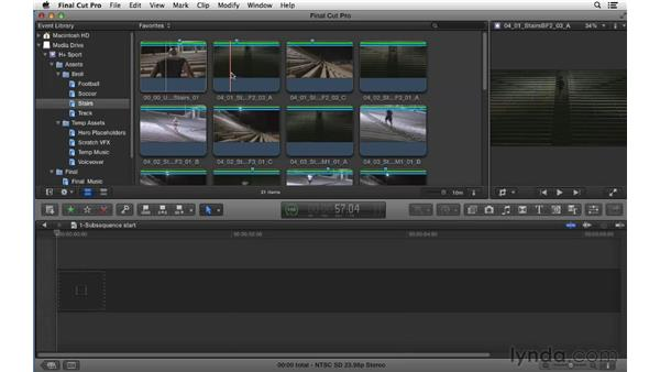 Creating subsequences to experiment and flesh out content: Commercial Editing Techniques with Final Cut Pro X v10.0.9