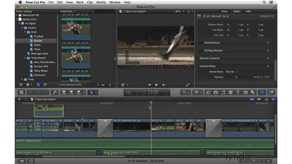 Compositing layers within the spot: Commercial Editing Techniques with Final Cut Pro X v10.0.9