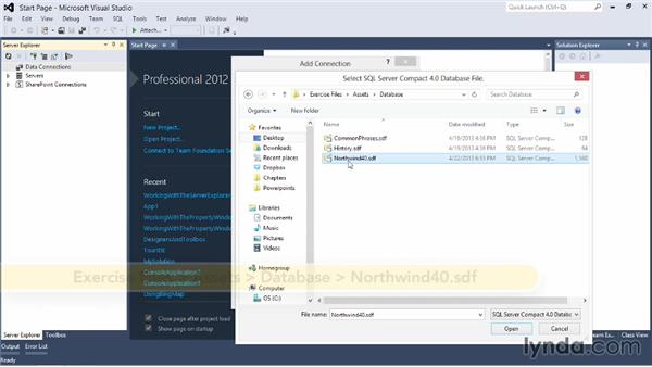 Working with databases in Server Explorer: Visual Studio 2012 Essential Training