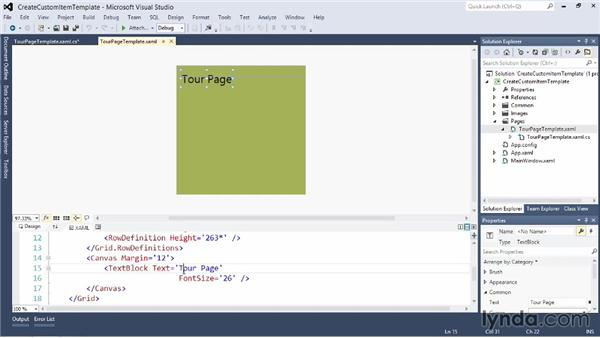 Creating a custom item template: Visual Studio 2012 Essential Training