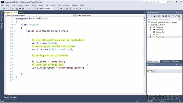Customizing fonts and colors for editors: Visual Studio 2012 Essential Training
