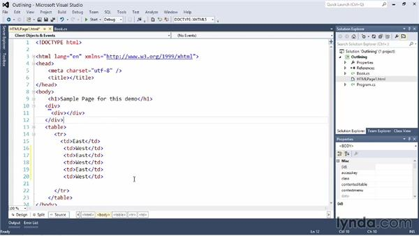 Using outliners and regions in your code: Visual Studio 2012 Essential Training