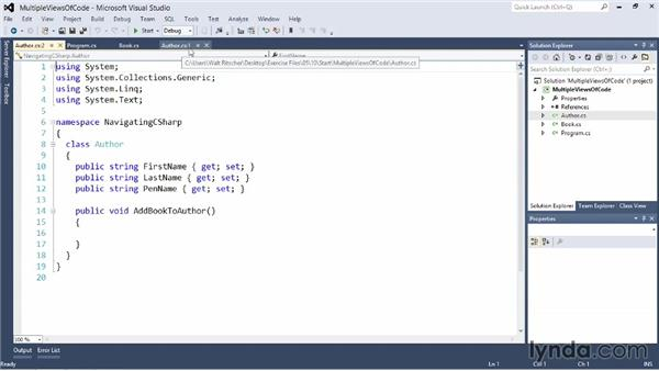 Getting multiple views of your code: Visual Studio 2012 Essential Training