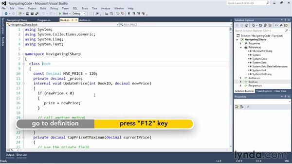 Navigating code and code references: Visual Studio 2012 Essential Training