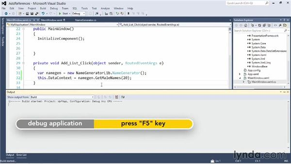 Adding a reference to a project or assembly: Visual Studio 2012 Essential Training