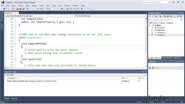 Using the Task List: Visual Studio 2012 Essential Training