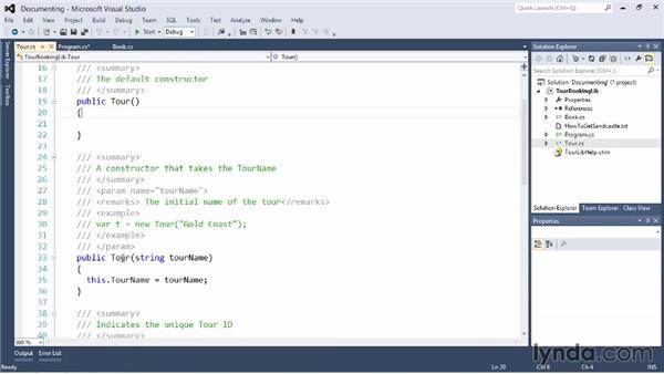 Documenting your code: Visual Studio 2012 Essential Training