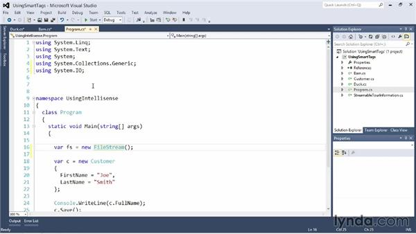 Using SmartTags and other IntelliSense aids: Visual Studio 2012 Essential Training