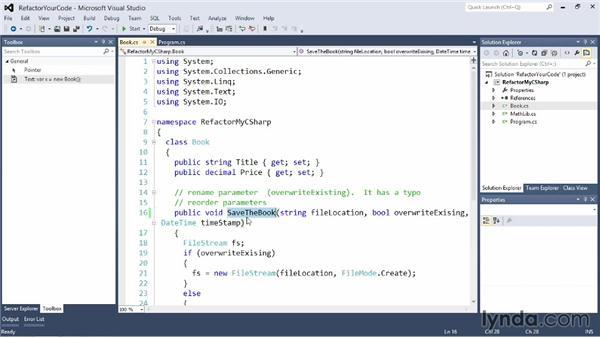 Refactoring your code: Visual Studio 2012 Essential Training