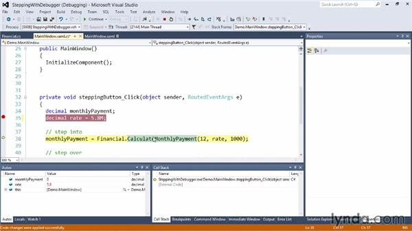 Stepping through code in the debugger: Visual Studio 2012 Essential Training