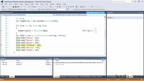 Using data tips and data visualizers: Visual Studio 2012 Essential Training