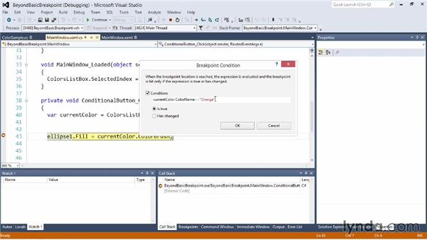 Beyond the basic breakpoint: Visual Studio 2012 Essential Training