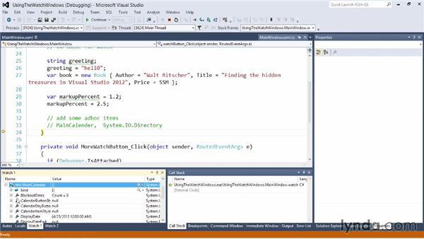 Using the Watch windows: Visual Studio 2012 Essential Training