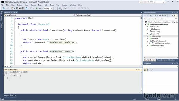 Effective use of the Immediate window: Visual Studio 2012 Essential Training