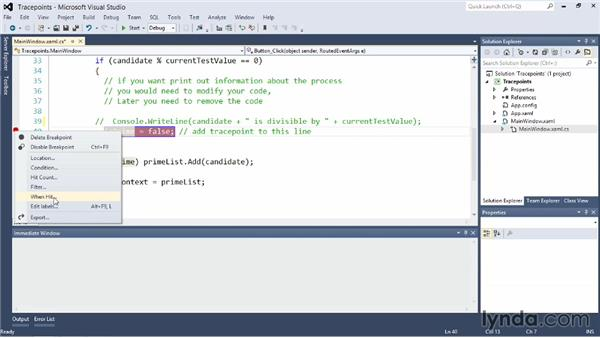 Exploring tracepoint, a different type of breakpoint: Visual Studio 2012 Essential Training