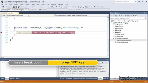 Attaching a debugger to a running process: Visual Studio 2012 Essential Training