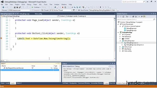 Debugging ASP.NET websites: Visual Studio 2012 Essential Training