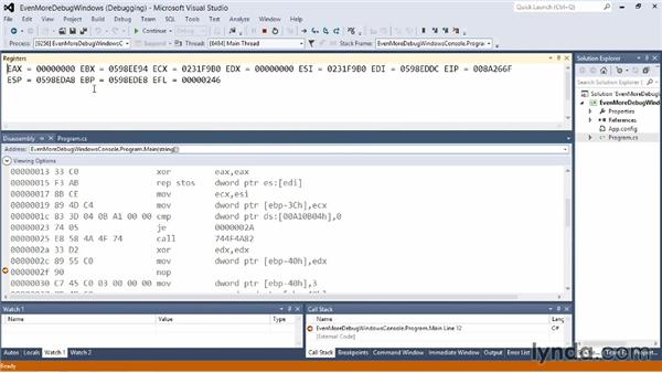 Even more debugging windows: Visual Studio 2012 Essential Training