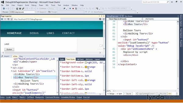 Debugging with the ASP.NET page inspector: Visual Studio 2012 Essential Training