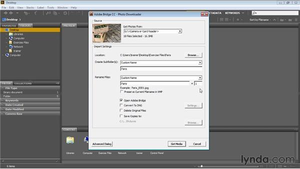 Downloading images: Bridge CC for Photographers