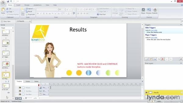 Creating a results slide: Up and Running with Articulate Storyline