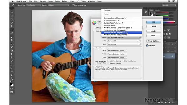 Setting up your color settings: Photoshop CC for Photographers: Fundamentals