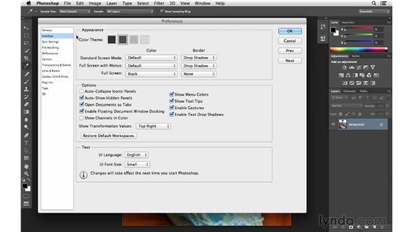 Customizing the interface: Photoshop CC for Photographers: Fundamentals