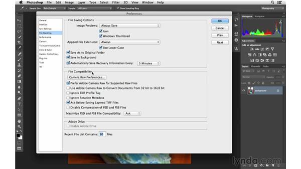 Choosing file-handling and autorecovery options: Photoshop CC for Photographers: Fundamentals