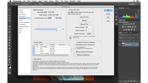 Improving Photoshop performance: Photoshop CC for Photographers: Fundamentals