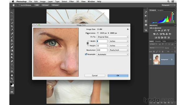 Resizing an image to a smaller size: Photoshop CC for Photographers: Fundamentals