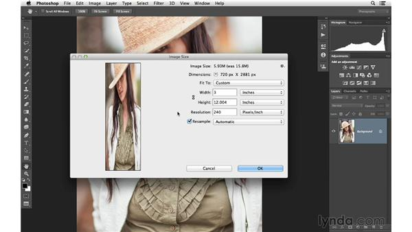 Constraining proportions and resetting the Image Size dialog: Photoshop CC for Photographers: Fundamentals