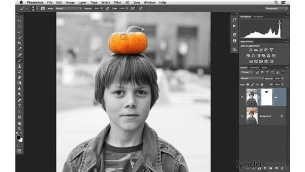 Removing color with a mask: Photoshop CC for Photographers: Fundamentals