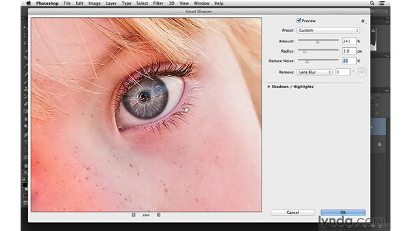 Selectively sharpening an area of your photograph: Photoshop CC for Photographers: Fundamentals