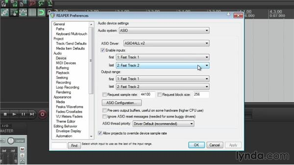 Input settings: Up and Running with REAPER 4