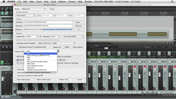 Consolidating and exporting: Up and Running with REAPER 4