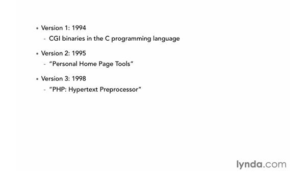 The history of PHP: PHP with MySQL Essential Training