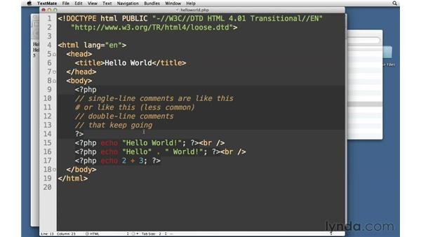 Inserting code comments: PHP with MySQL Essential Training