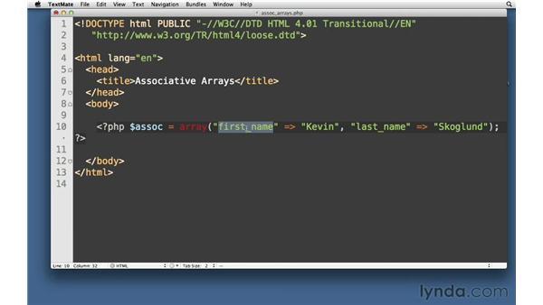 Associative arrays: PHP with MySQL Essential Training