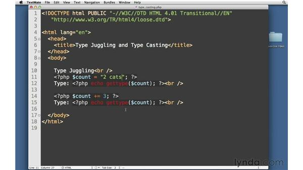 Type juggling and casting: PHP with MySQL Essential Training