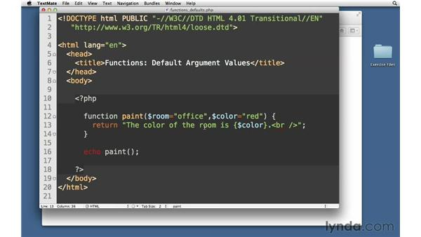 Setting default argument values: PHP with MySQL Essential Training